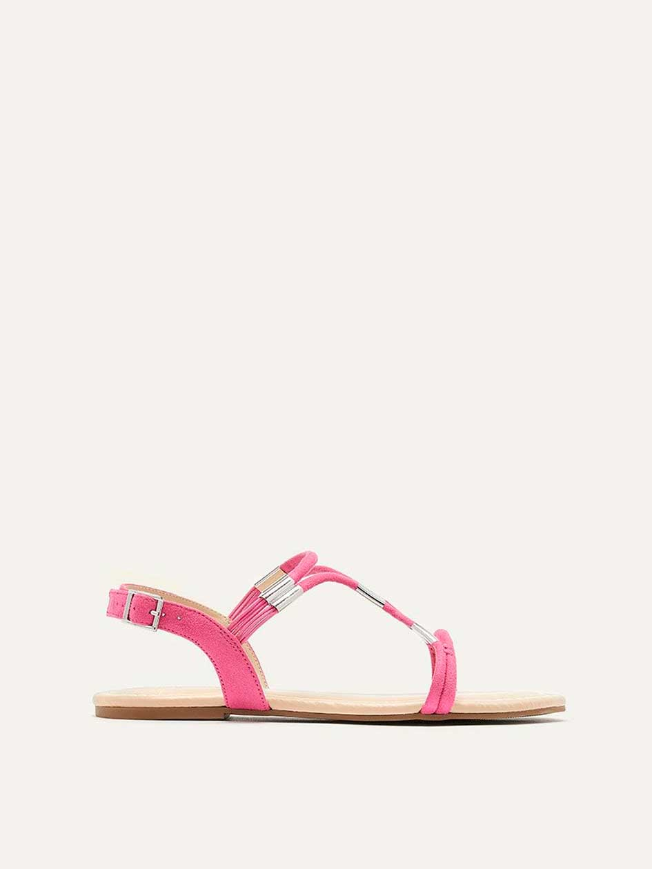 Wide Flat Cord & Metal Sandals