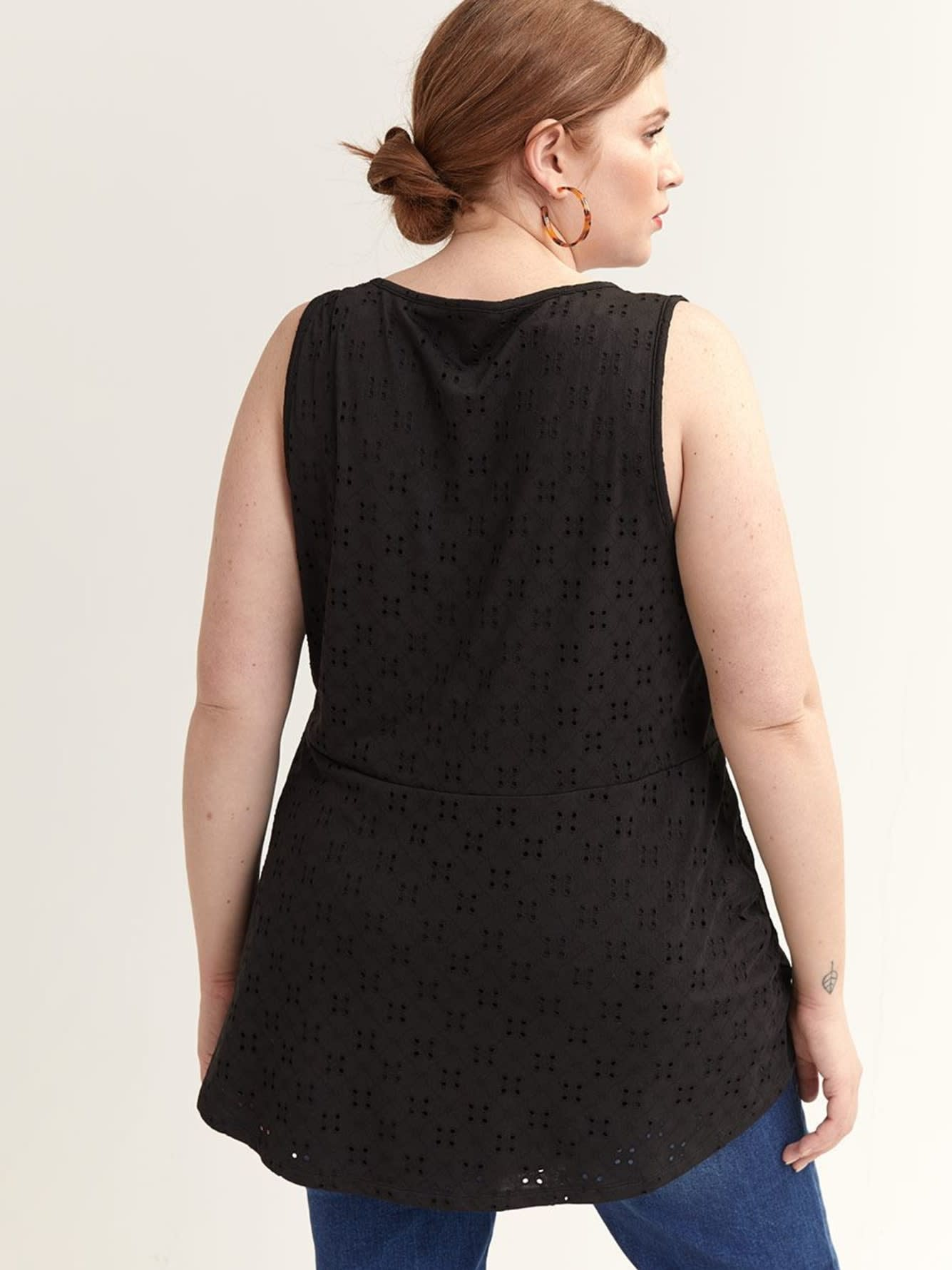 Eyelet Tank Top with Flounce