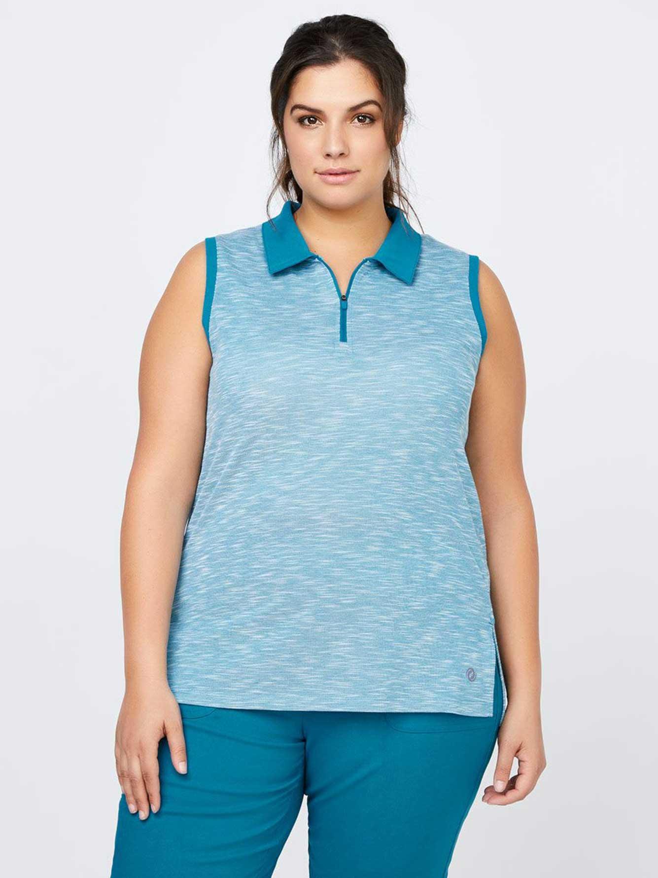 Plus size sleeveless golf polo sports penningtons for Plus size sleeveless golf shirts