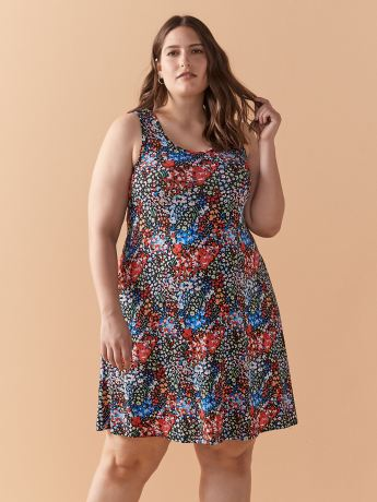 Short Printed Swing Tank Dress - In Every Story