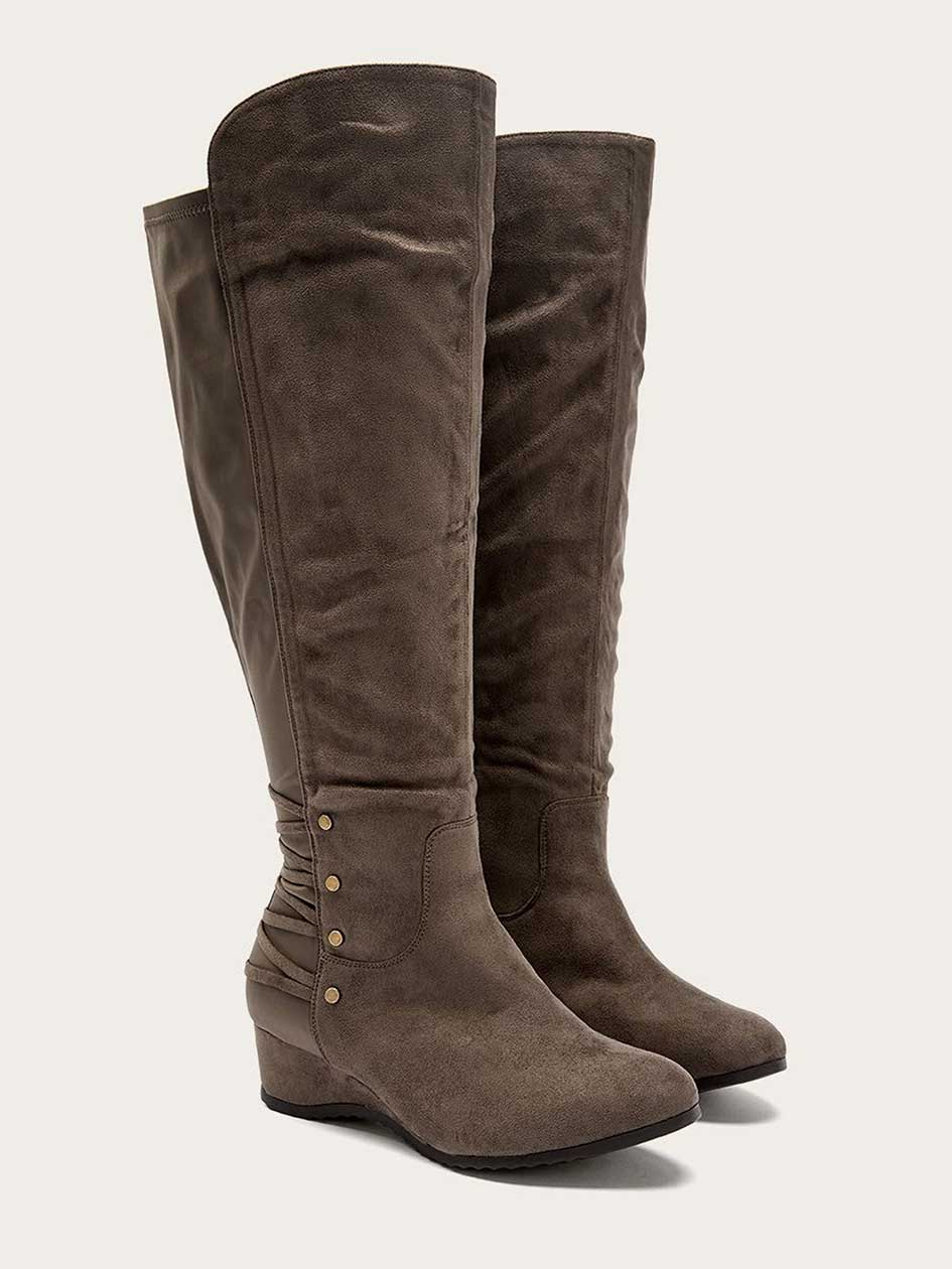 Extra Wide Calf Tall Boots with Studs