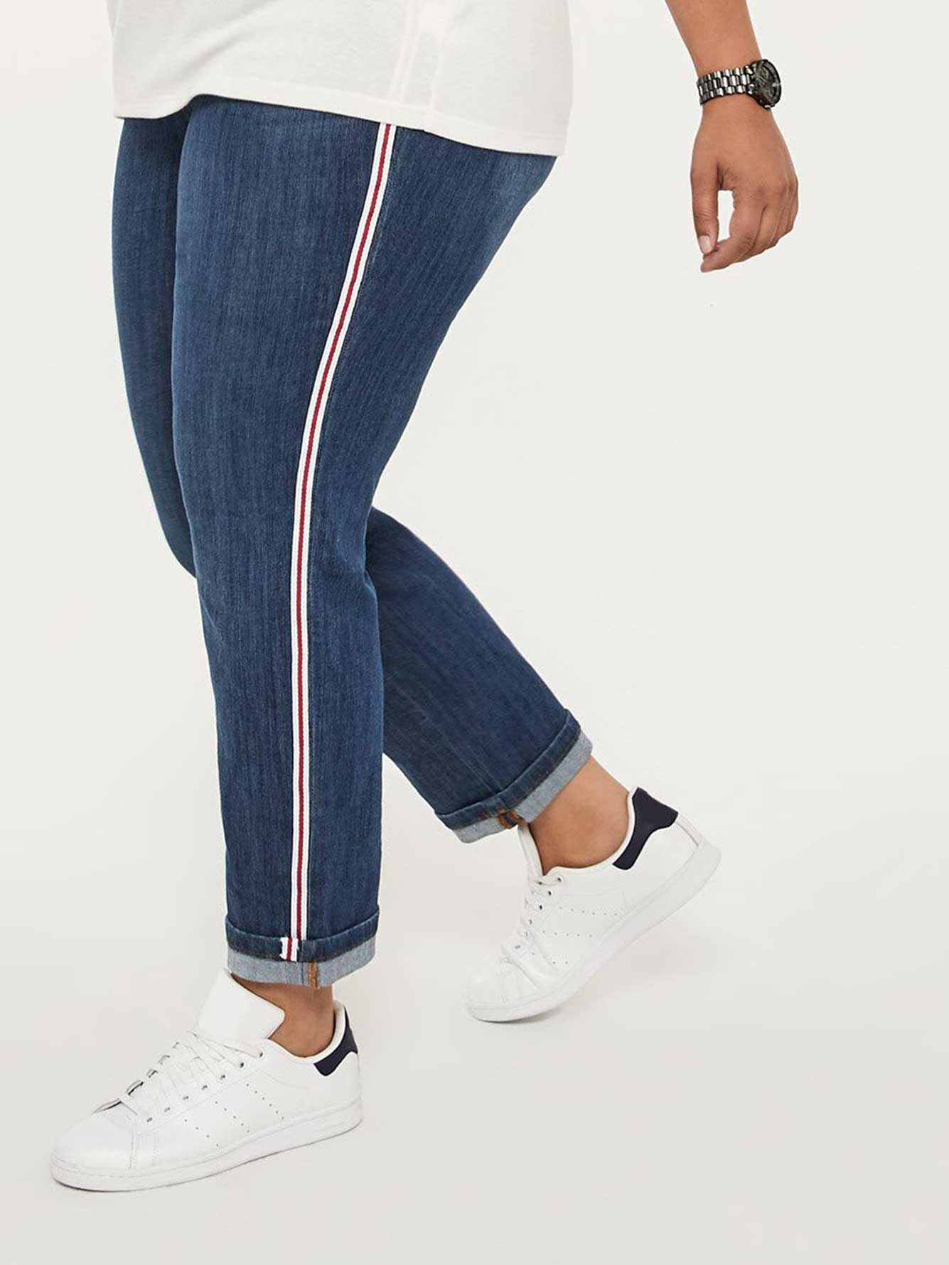 a69ab189a0d88b ONLINE ONLY - Tall Slightly Curvy Straight Leg Boyfriend Jean with Side  Stripe - d