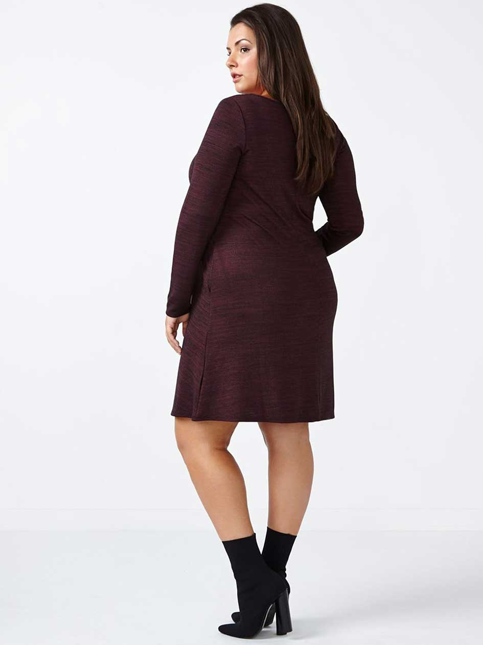 Long Sleeve V-Neck Swing Dress
