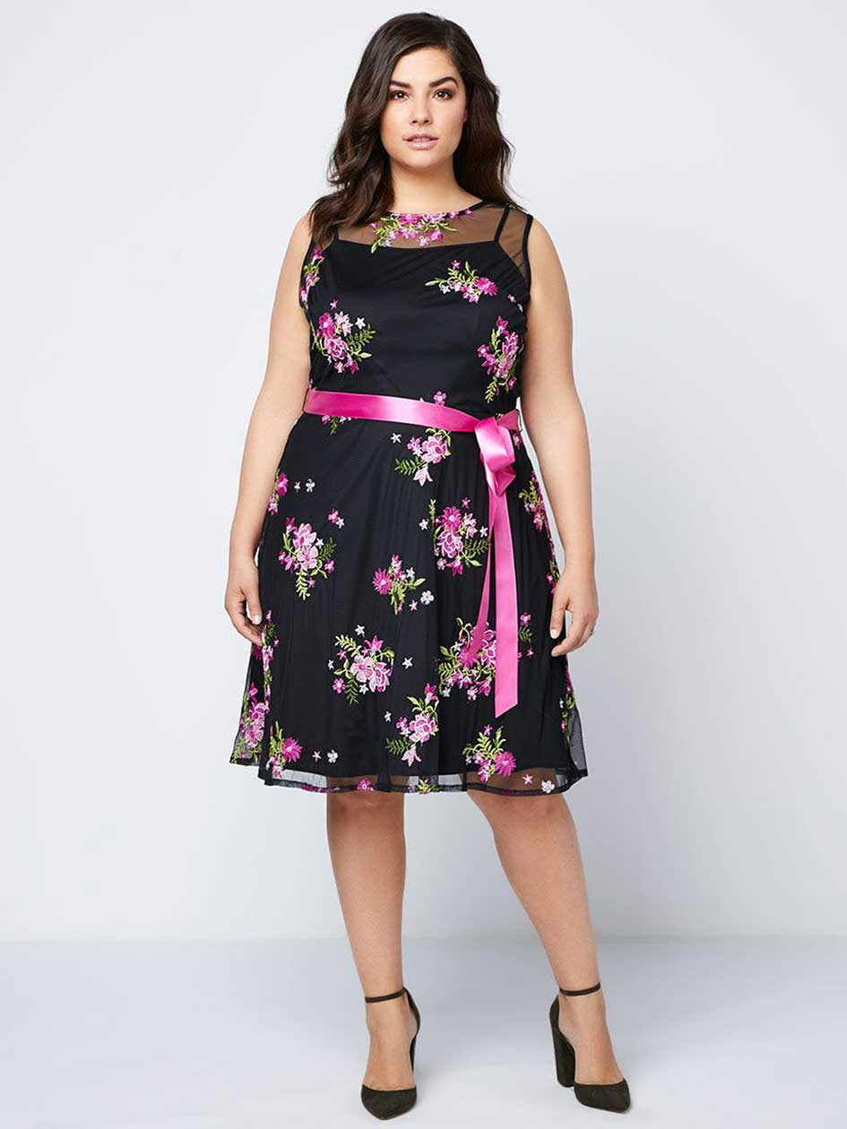 Floral Fit and Flare Dress with Mesh - In Every Story