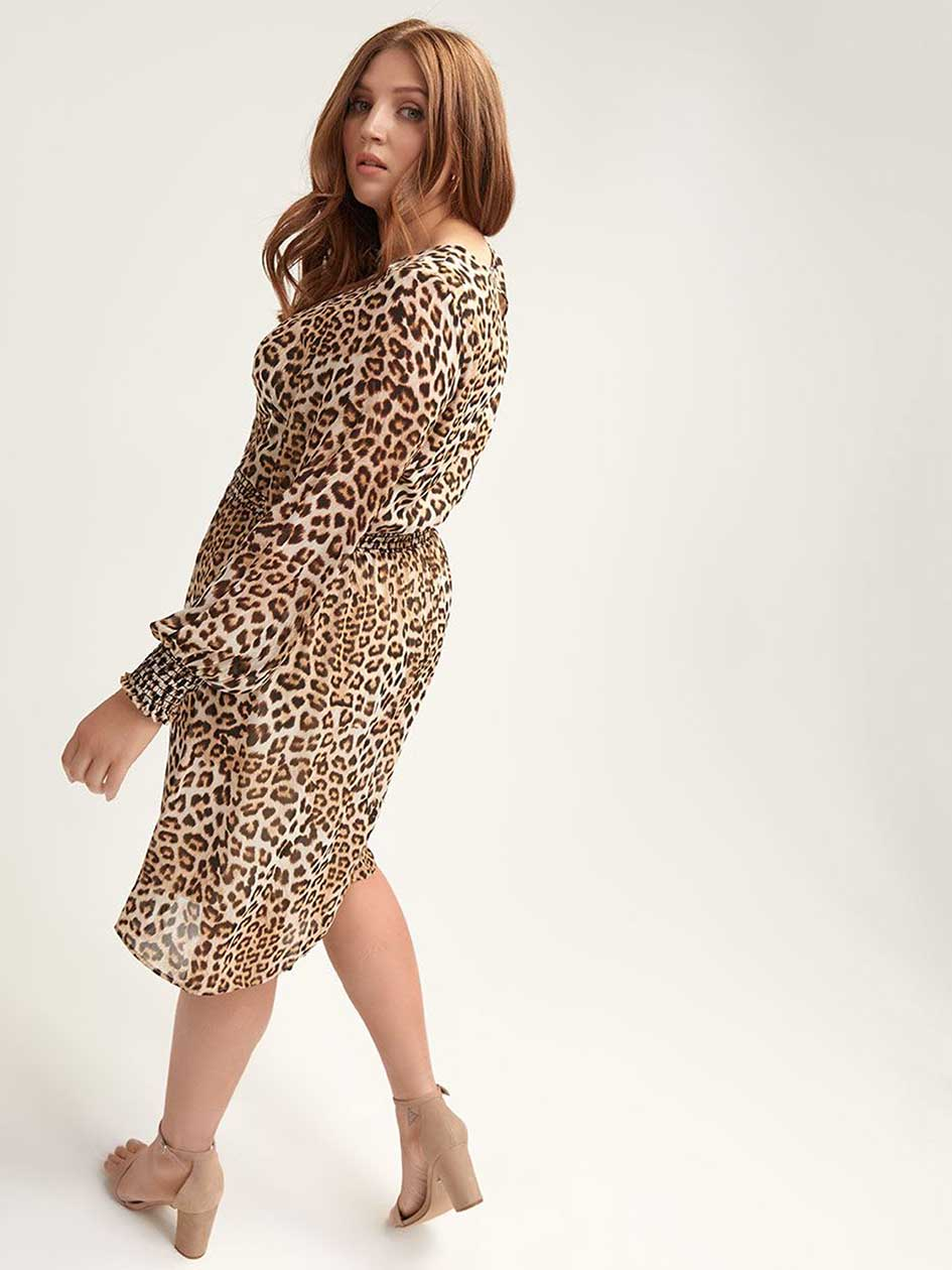 Leopard-Print Dress with Smocking Details