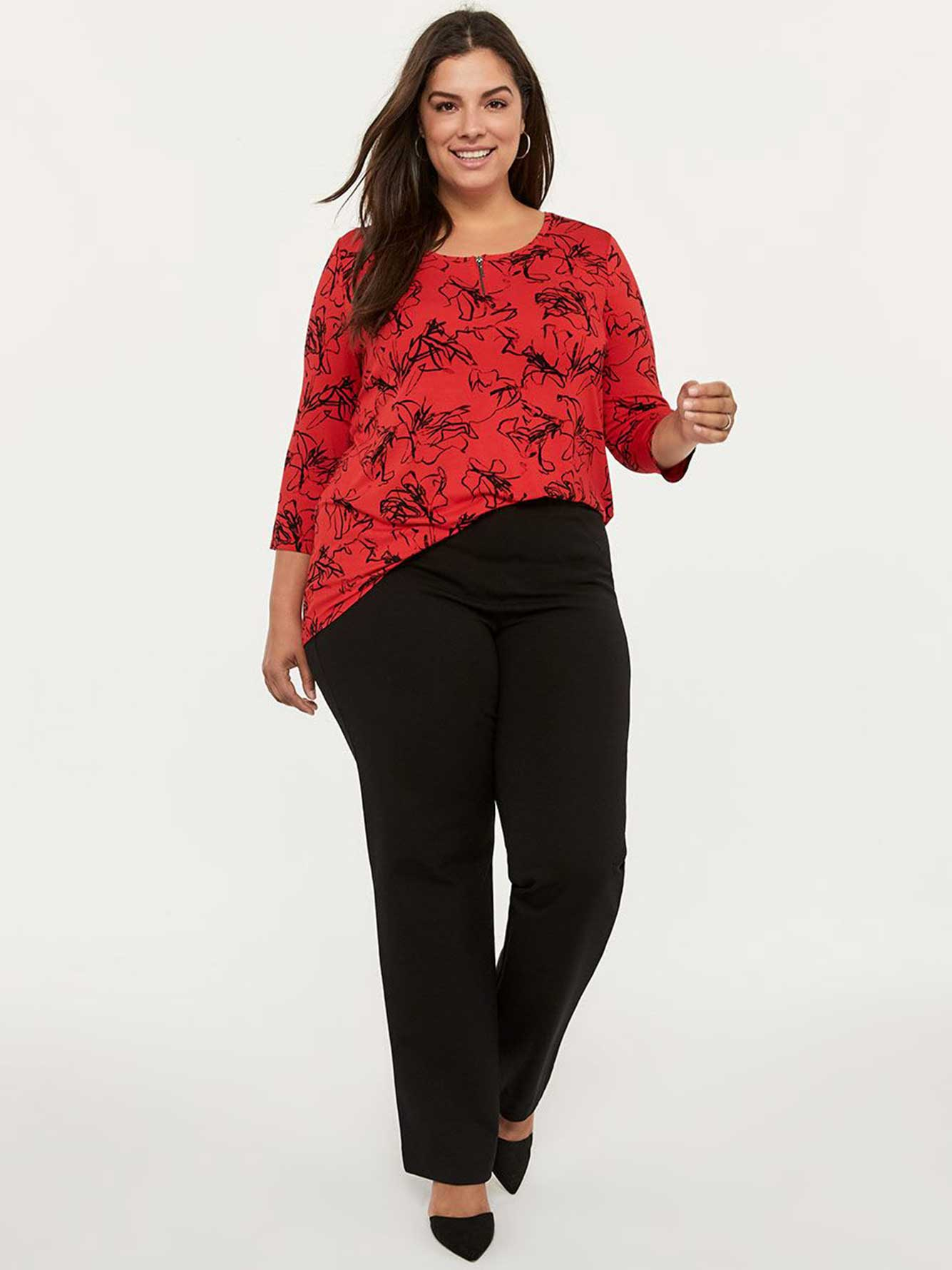 """penningtons,Move in style with this flattering plus-size sculpting pant from In Every Story! It features built-in mesh panels with special support directed at your hips and backside. Made to sculpt your figure, it also provides a higher rise, and has wide pull-on waistband for better support. It offers a slimming effect with straight leg that flatters your silhouette. Whats more? Its made with soft and stretchy jersey fabric. -Built-in sculpting mesh fabric -Offers slimming effect -Pull-on with wide waistband -Ponte de Roma fabric -Available in petite and tall sizes -32"""" inseam"""