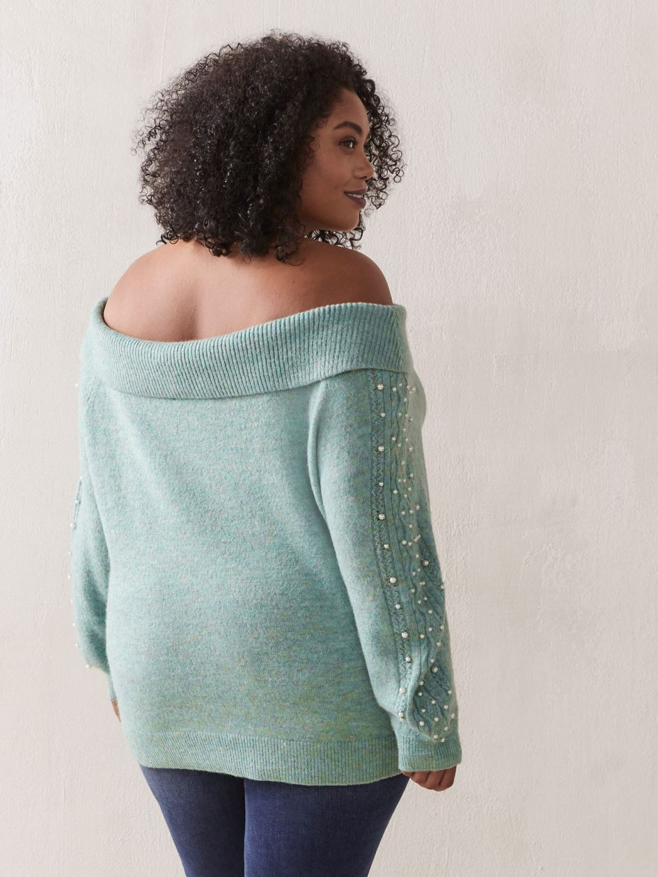 Cable Knit Off-Shoulder Sweater - In Every Story