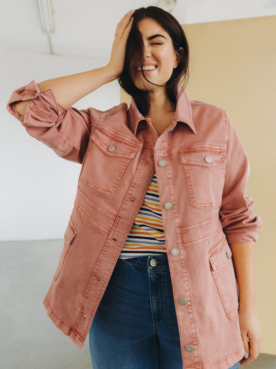 Solid-Coloured Safari Denim Jacket - d/C Jeans