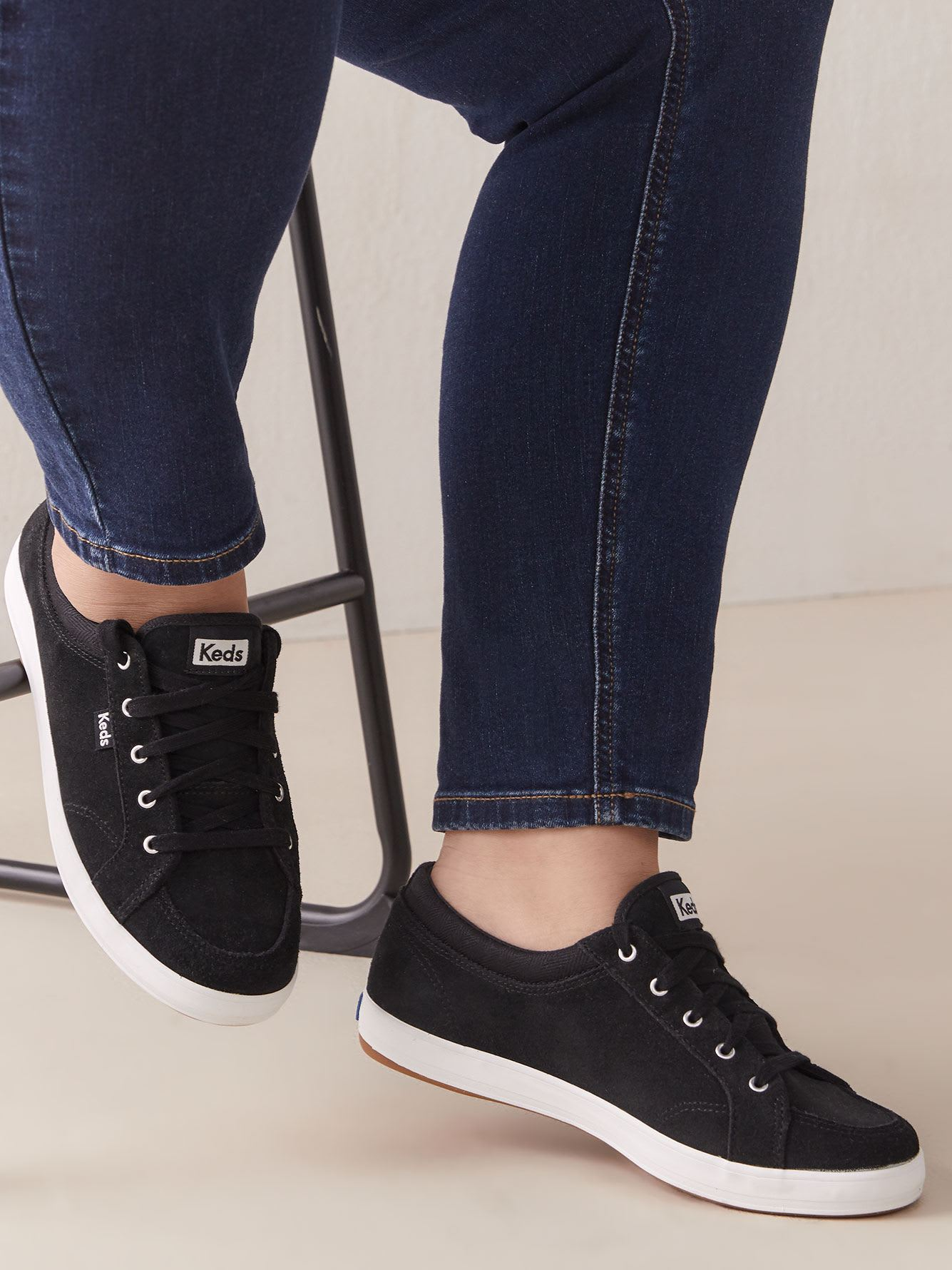 Wide Slip-On Suede Center Sneakers
