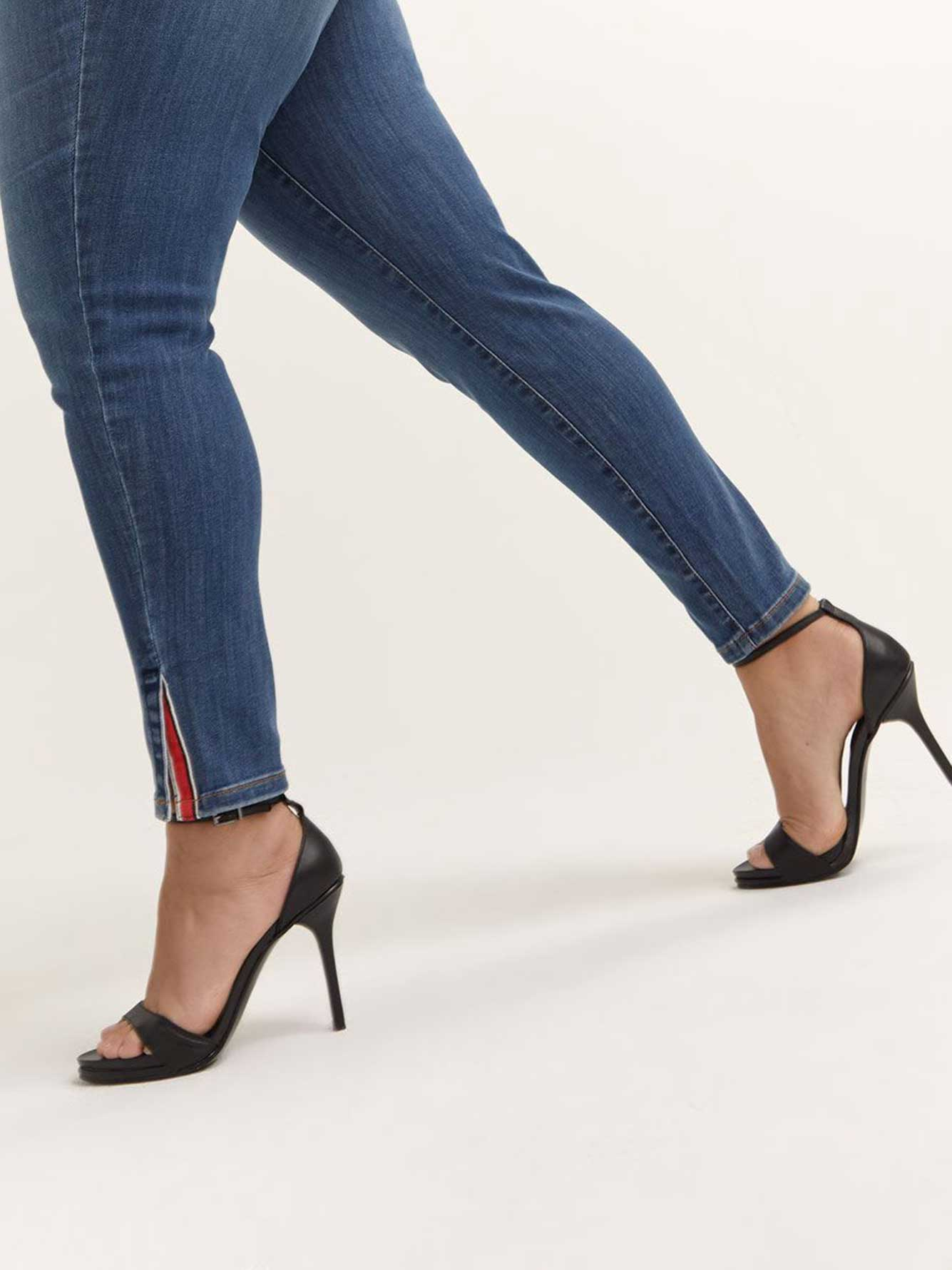 Petite - Slightly Curvy Skinny Leg Jean with Ankle Slit - d/C JEANS
