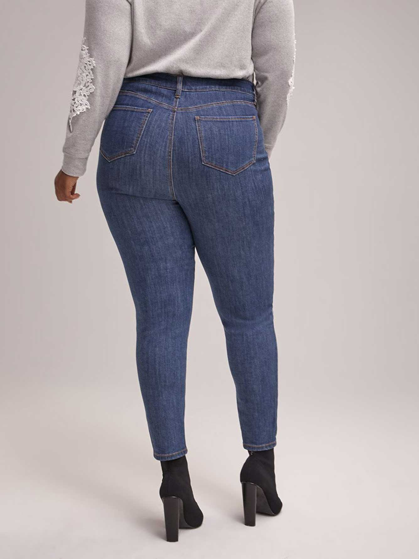 Slightly Curvy High Rise Skinny Jean with Side Embellishment - d/C JEANS