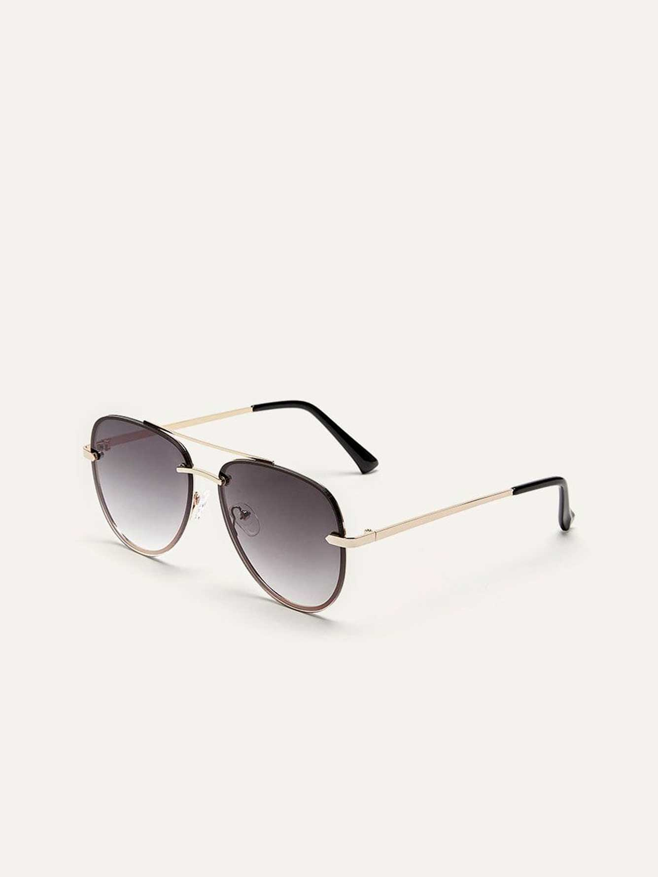 Rimless Metallic Aviator Sunglasses