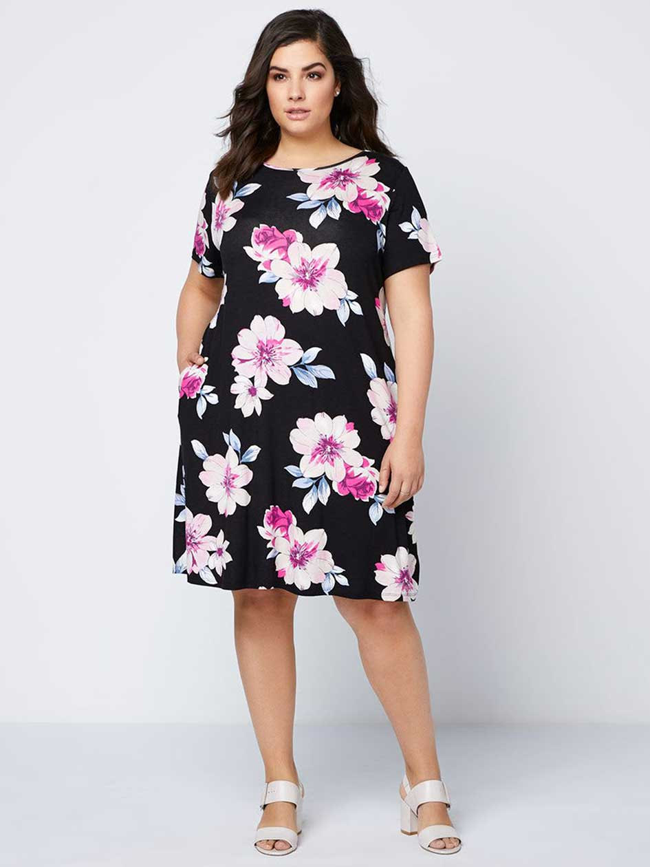 Printed Swing Dress with Criss-Cross Detail - In Every Story.Black.X