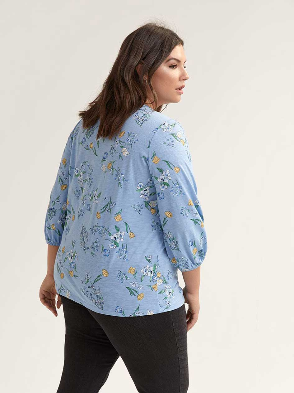 Printed Balloon Sleeve Top with Elastic Detail - d/C JEANS