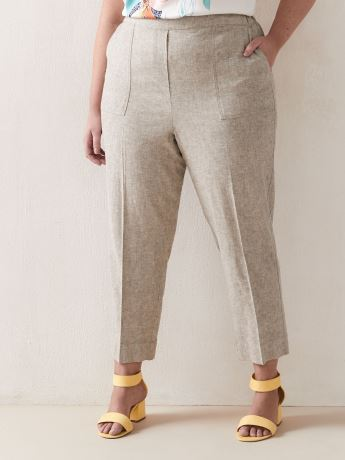 Linen-Blend Cropped Straight Leg Pant - Addition Elle