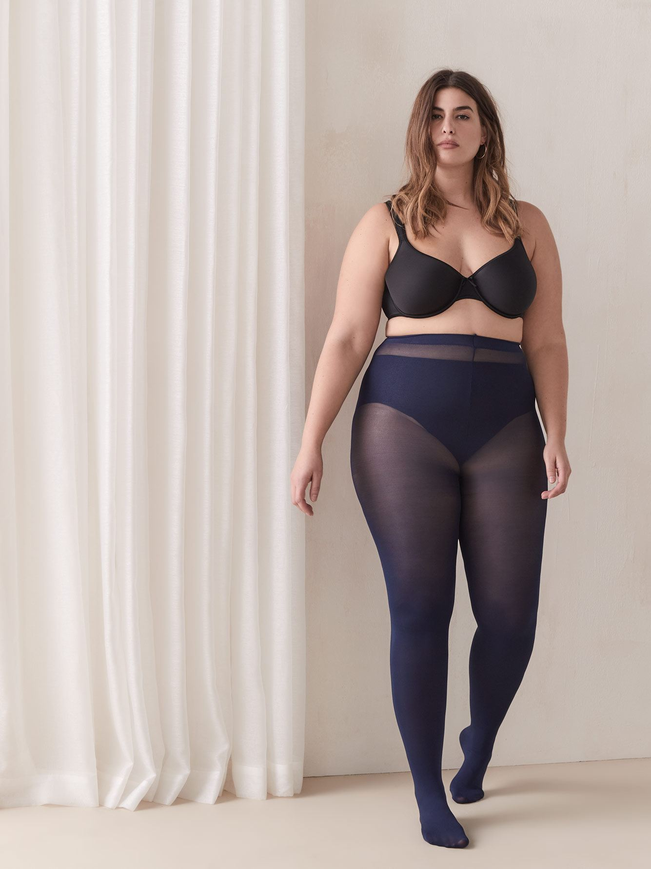 100D Solid Tights with Seamless Waistband - Addition Elle