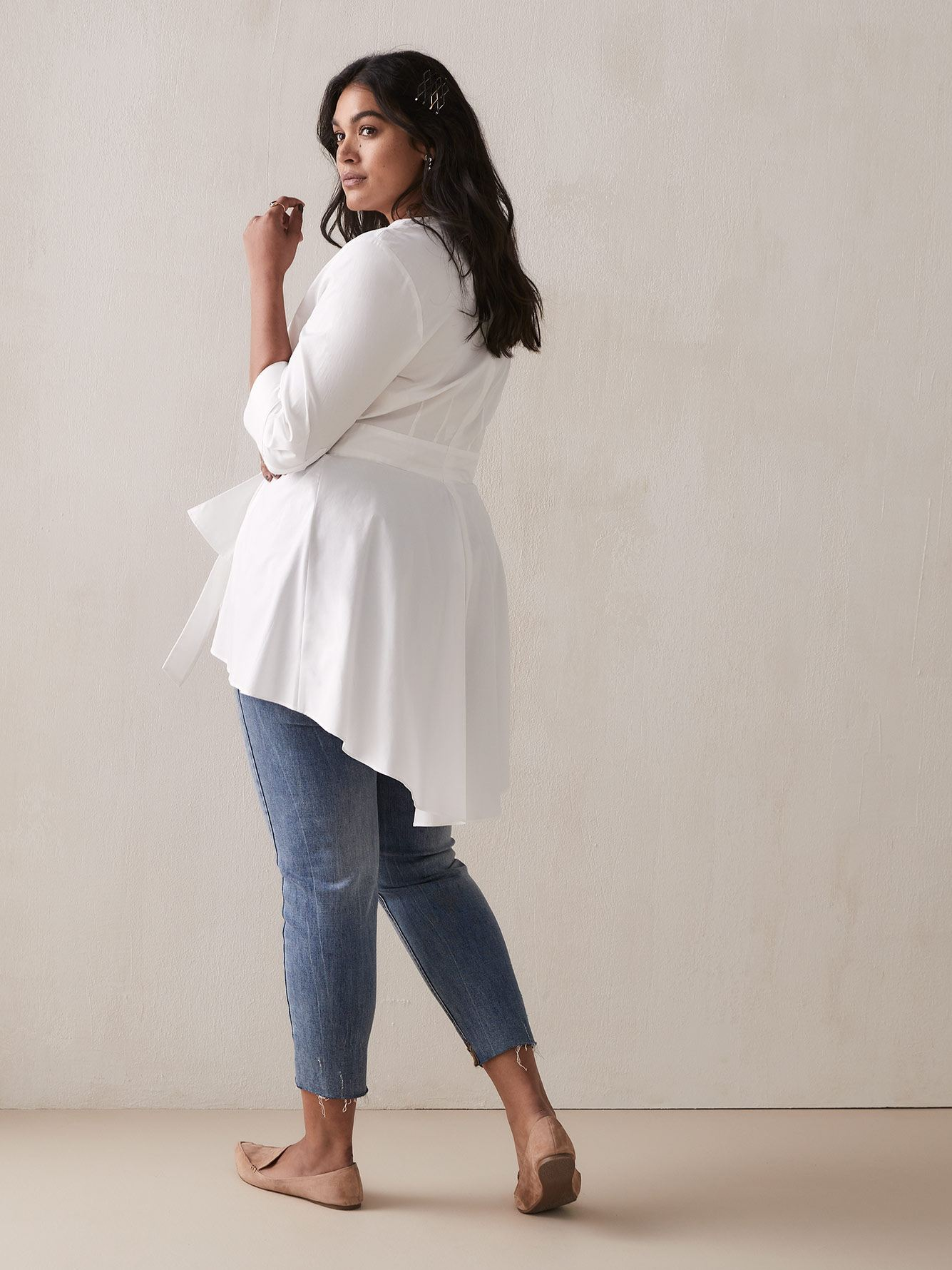 Wrap Tunic Blouse with High-Low Hem