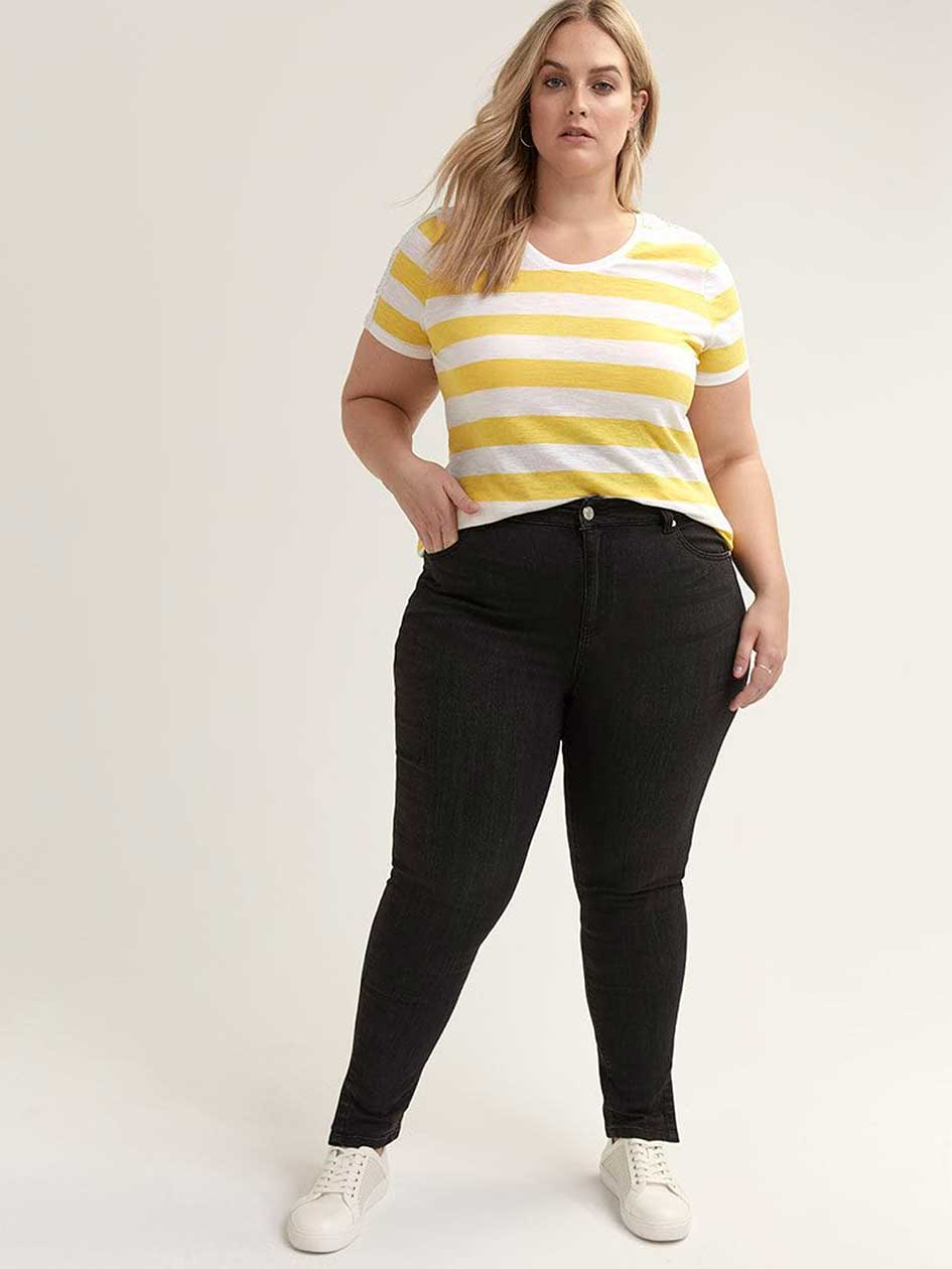 Slightly Curvy Skinny Leg Jean with Ankle Slit - d/C JEANS