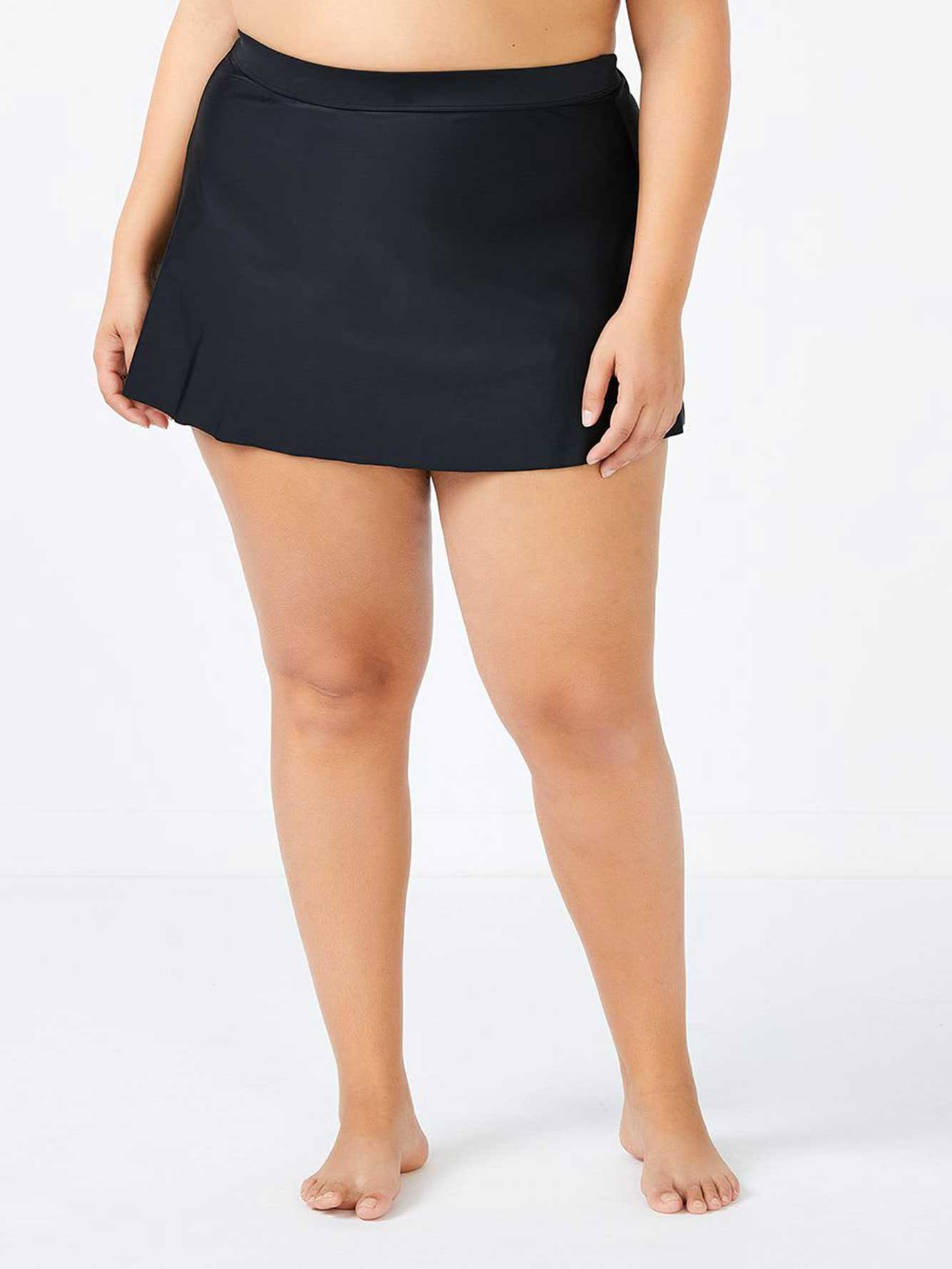 Solid Swim Skirt with Waistband - Addition Elle