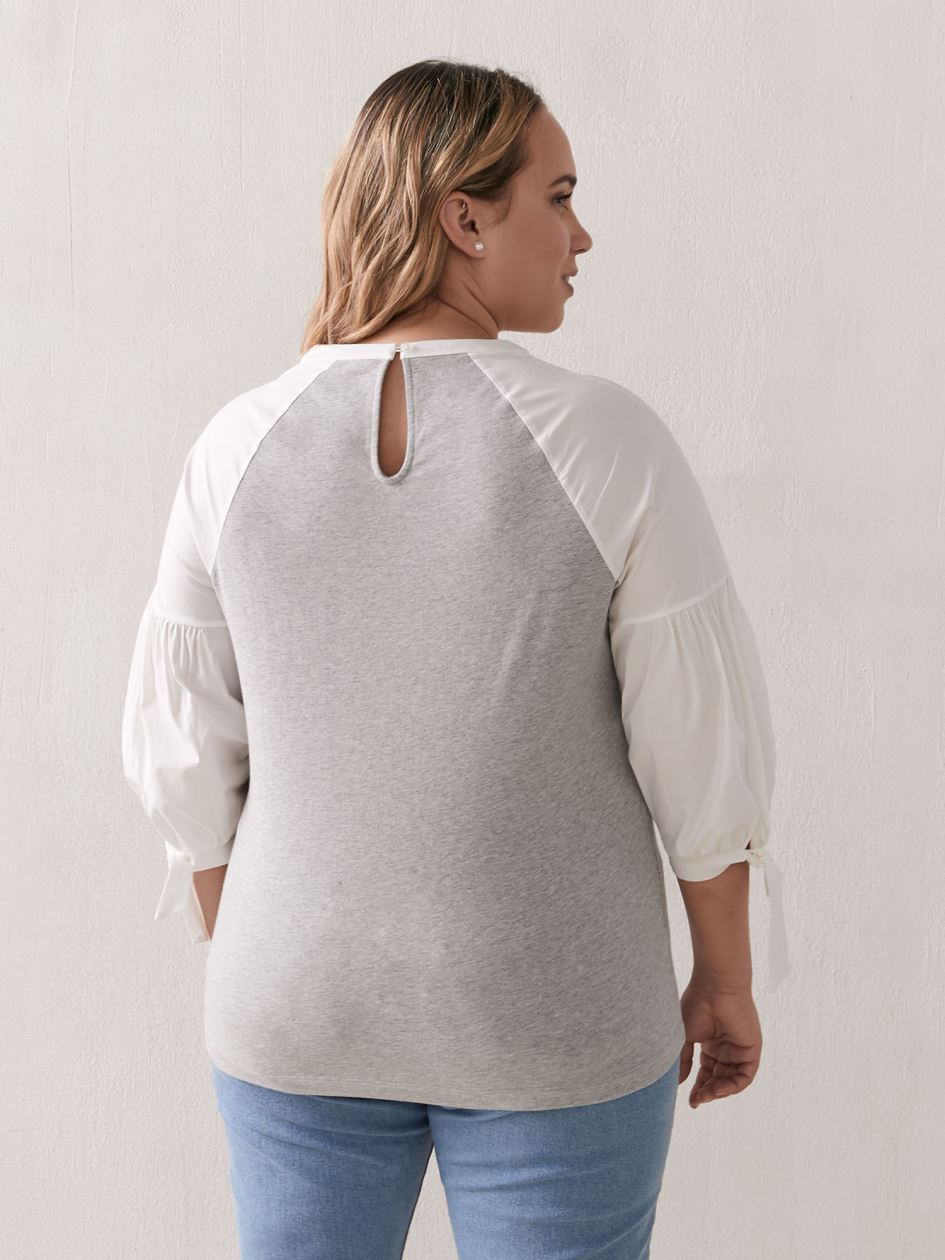 Mixed Media Raglan-Sleeve Top - Addition Elle