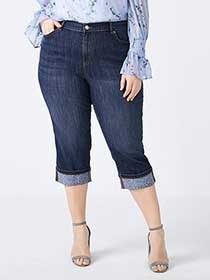 Slightly Curvy Fit Denim Capri with Printed Cuffs - d/C JEANS