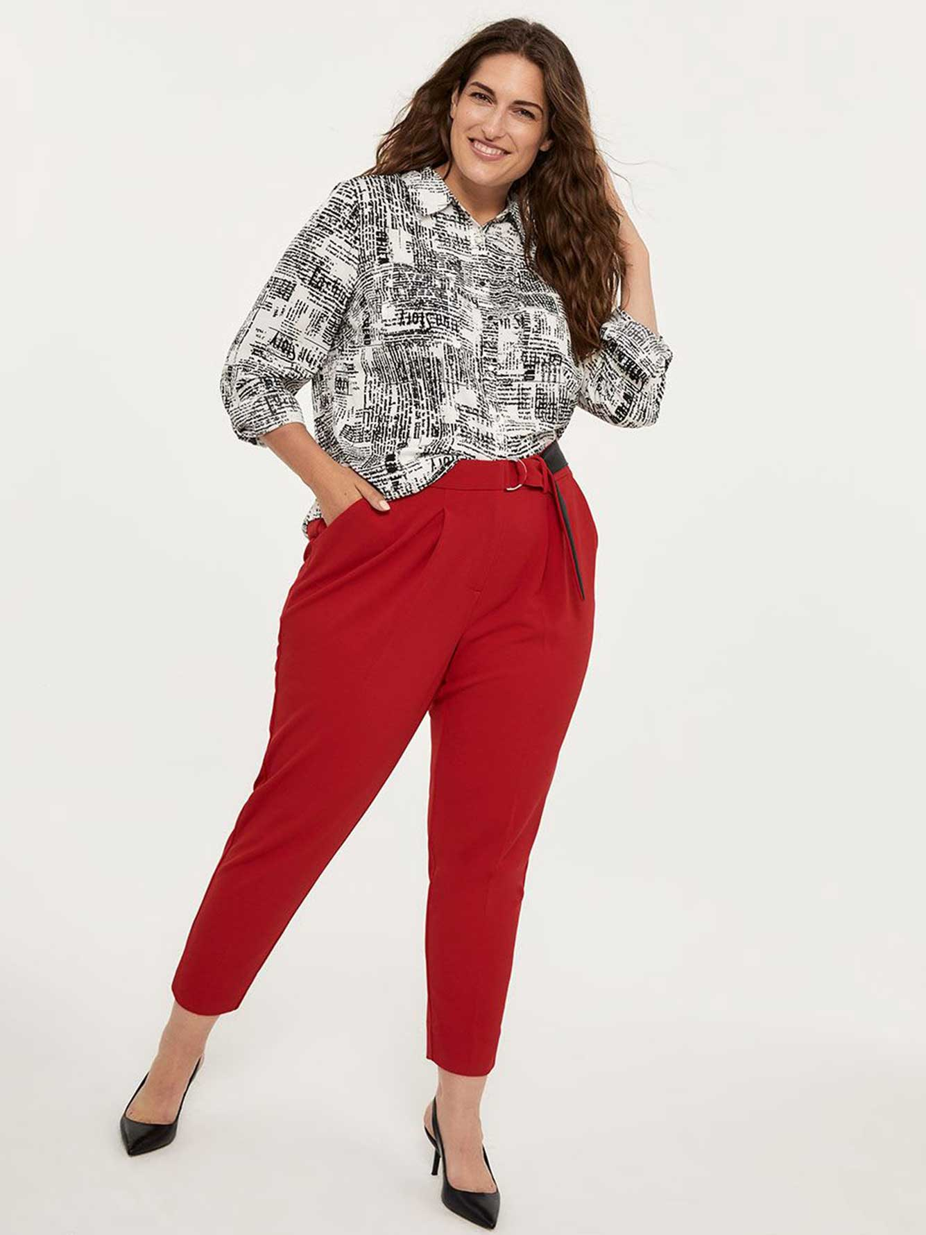 Slightly Curvy Ankle Pant with Pleats and Belt - In Every Story