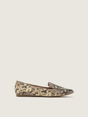 Wide-Width Pointy-Toe PU Snake-Print Loafers - Steve Madden