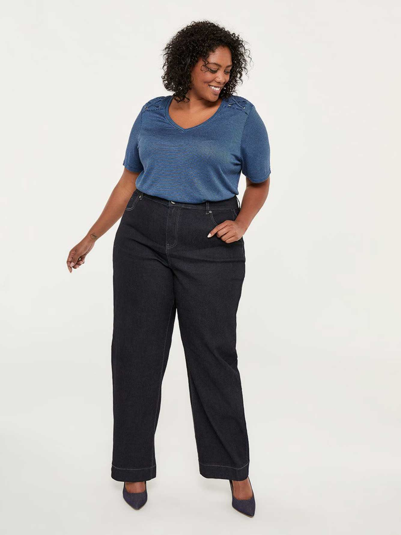 ONLINE ONLY - Tall Curvy Fit Wide Leg Jean - d/C JEANS