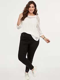 Slightly Curvy High Rise Skinny Jean with Pearls - d/C JEANS