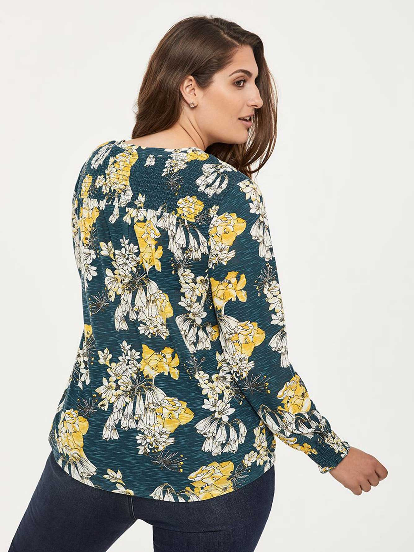 Printed Long Sleeve Knit Top with Shirring - d/C JEANS