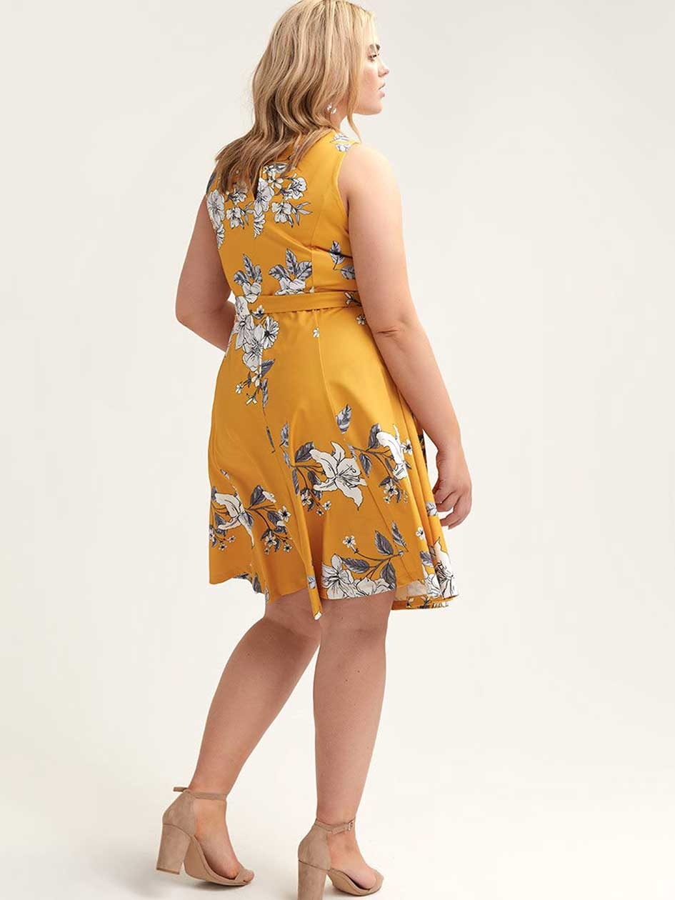 Crepe Fit & Flare Printed Scuba Dress