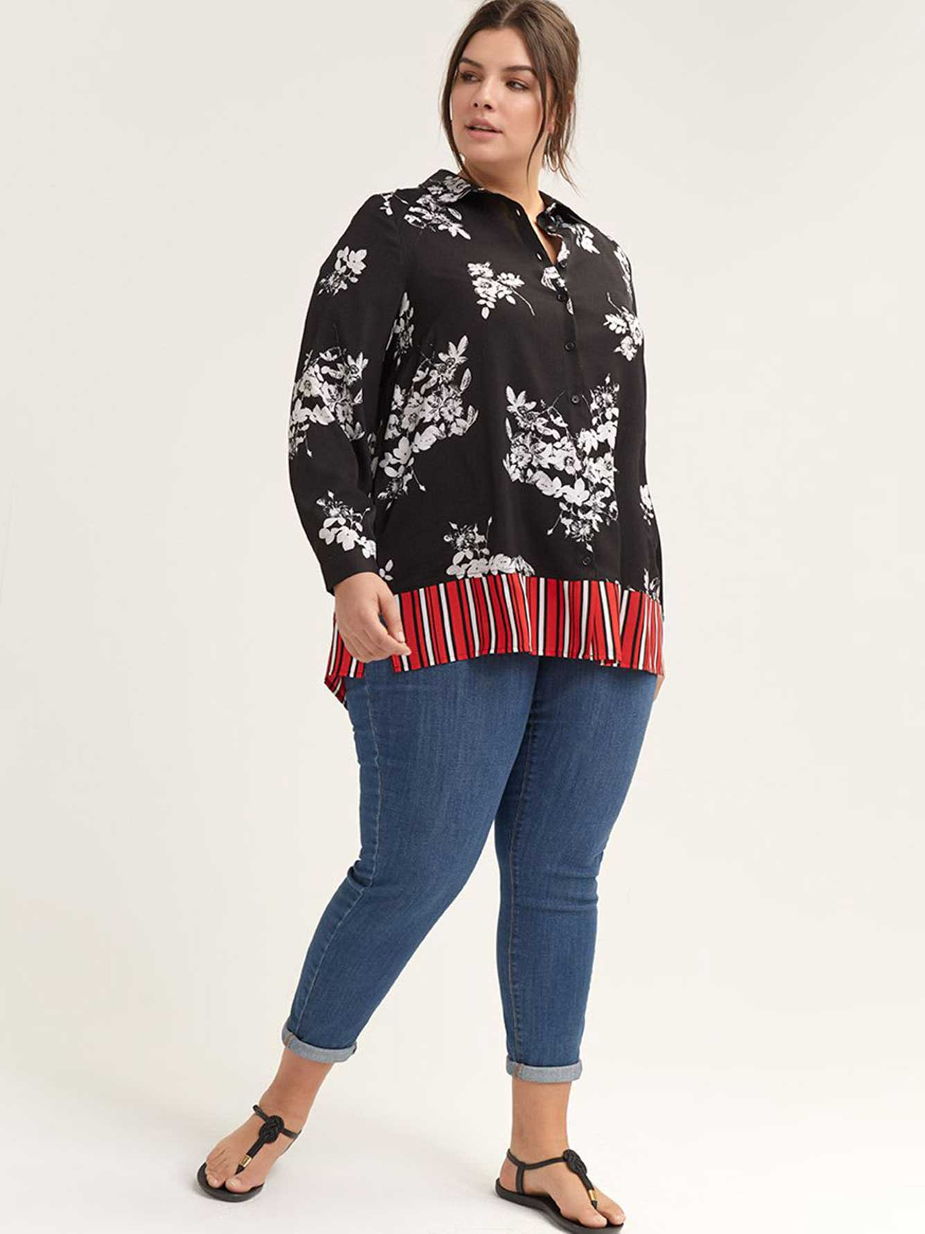 Floral Button-Down Blouse with Contrasting Stripes - In Every Story