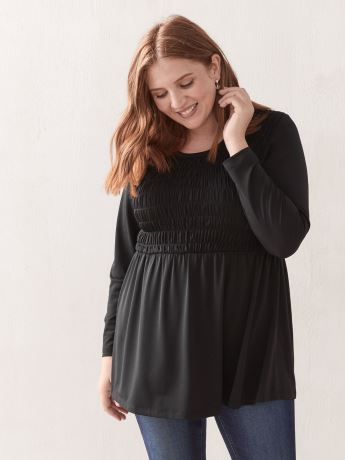 Solid Babydoll Top with Smocking - In Every Story