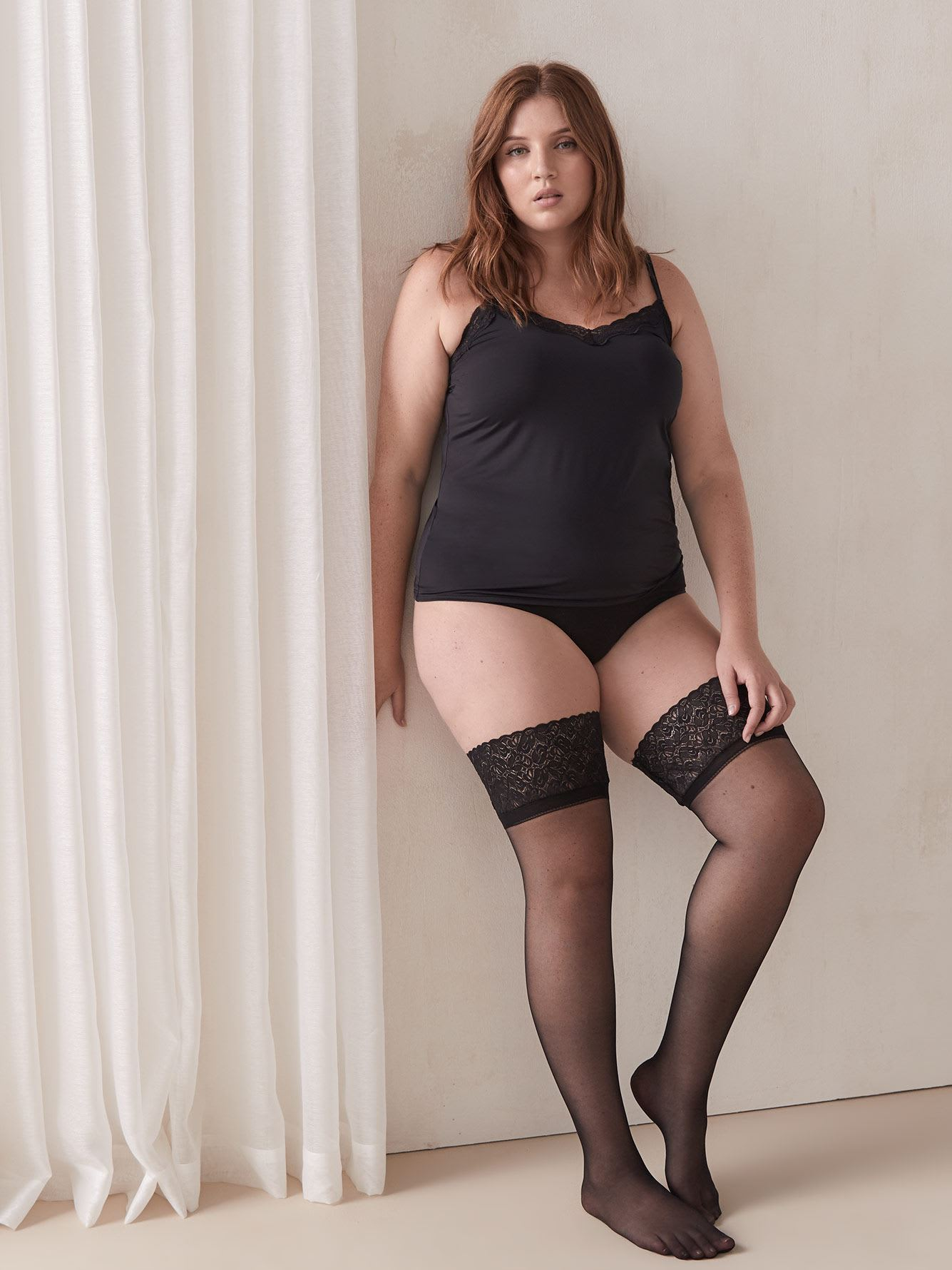 Basic Lace Stay Up Sheer 20D Nylons - Addition Elle