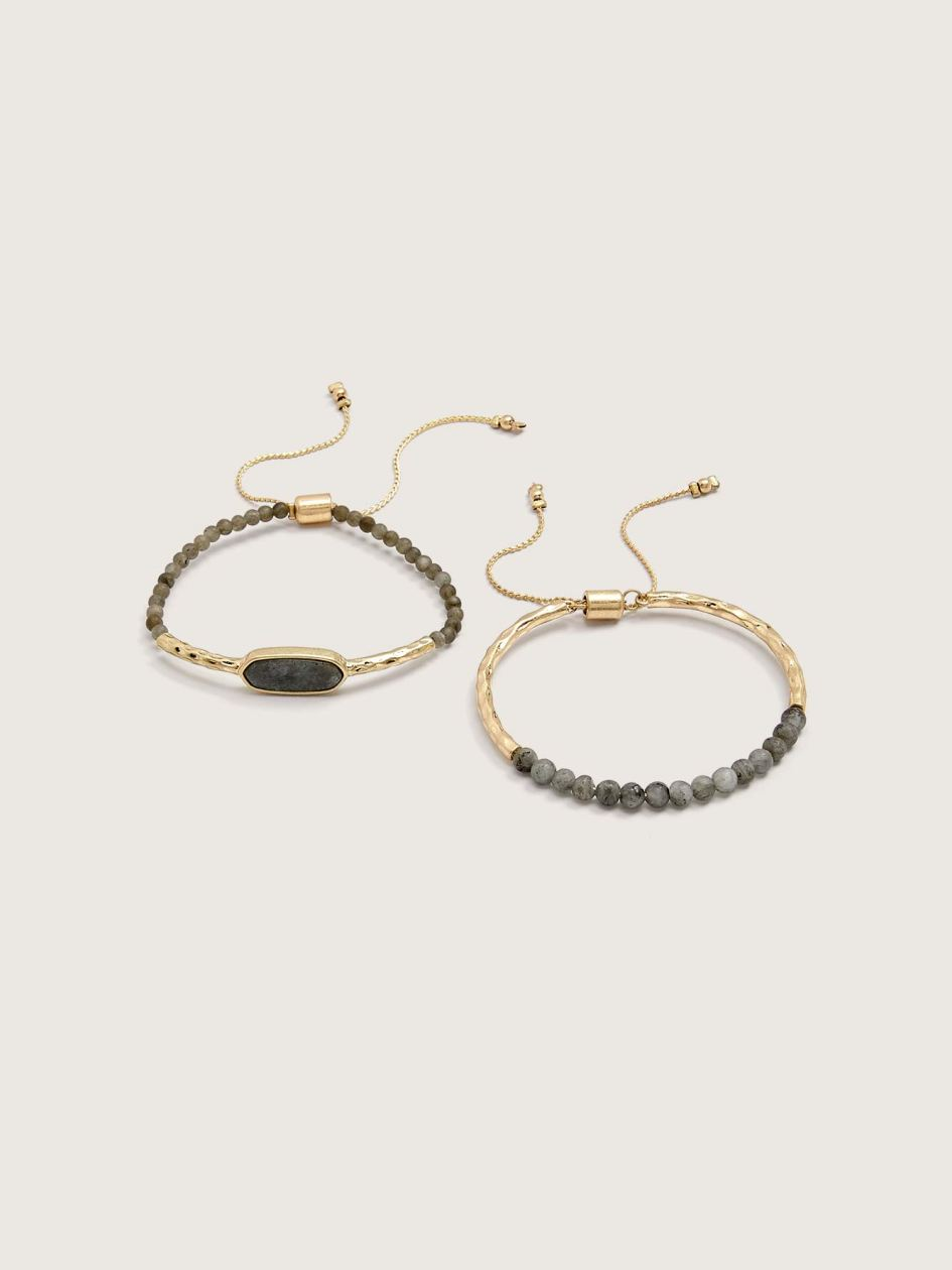 2 Pull Clasp Bracelets with Semi-Precious Stone - Addition Elle