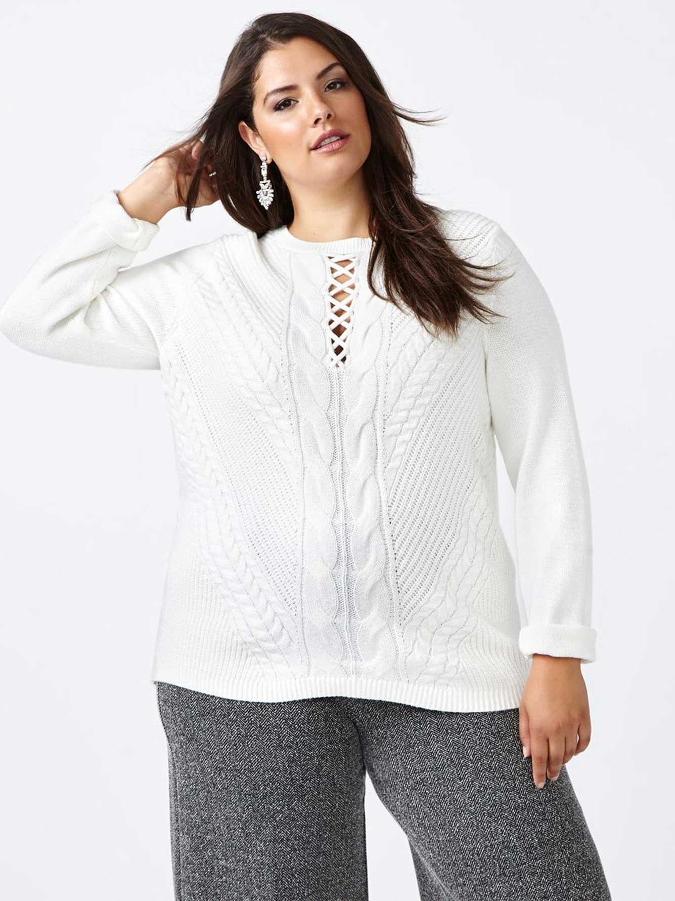 56e61eb3f0 Lace Up Patterned Sweater