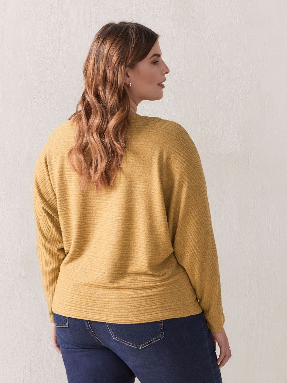 Dolman Sleeve Boat Neck Top - Addition Elle