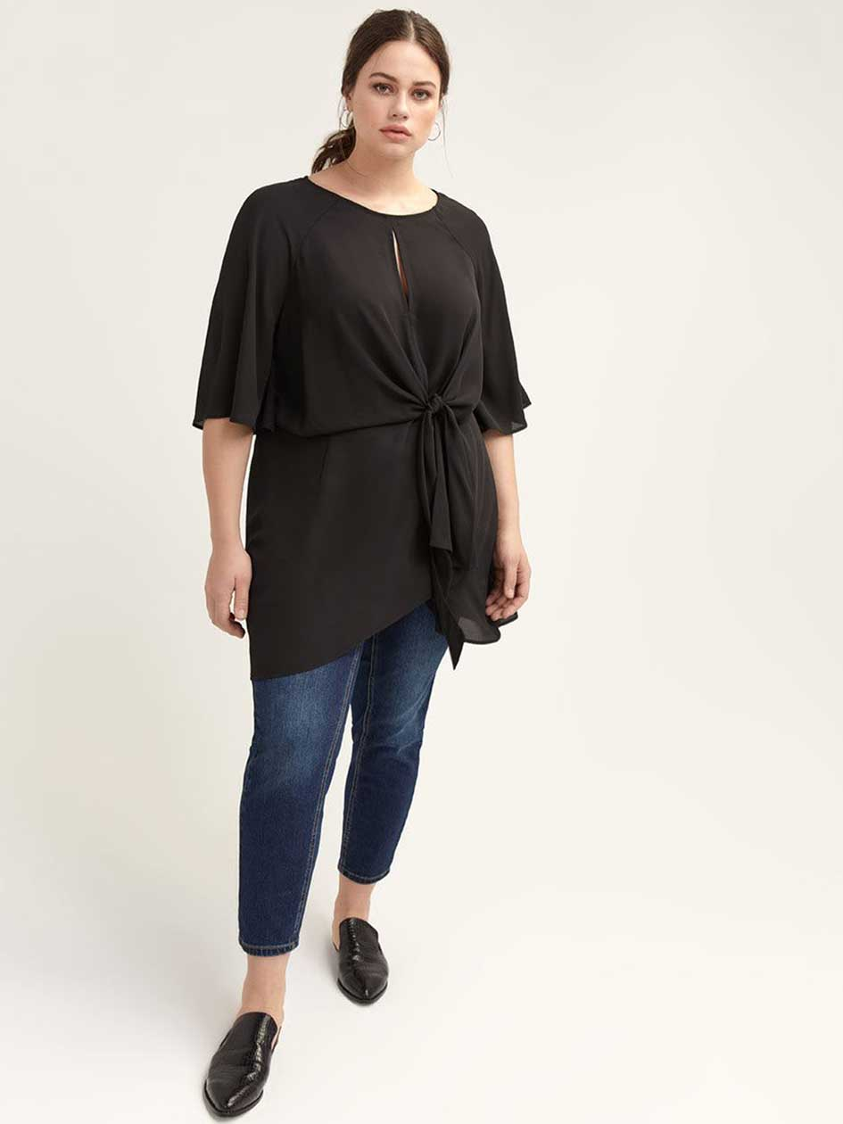 Flutter-Sleeve Tunic with Front Knot