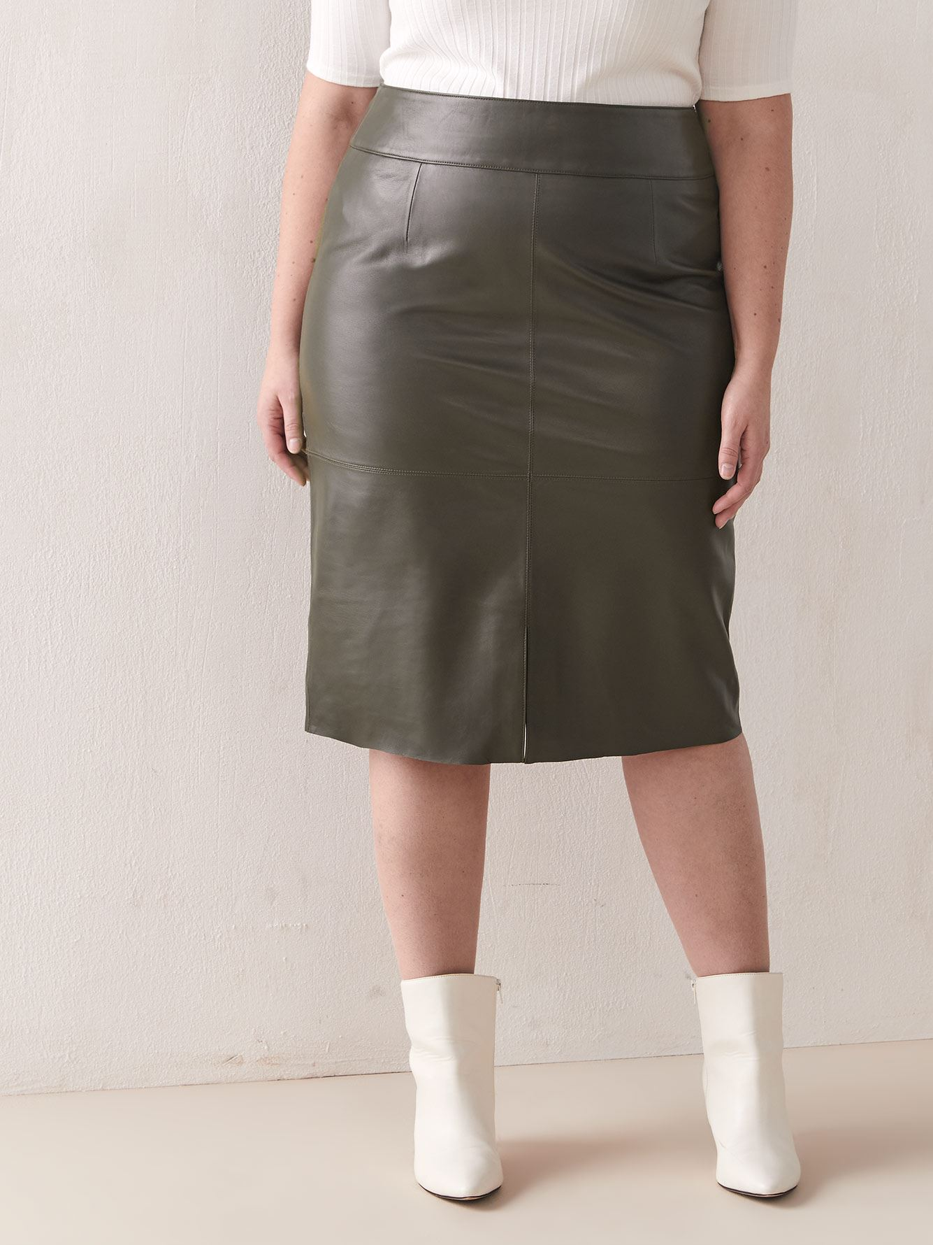 Genuine Leather Pencil Skirt - Addition Elle