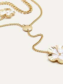 Y Shape Flower 2 Piece Necklace