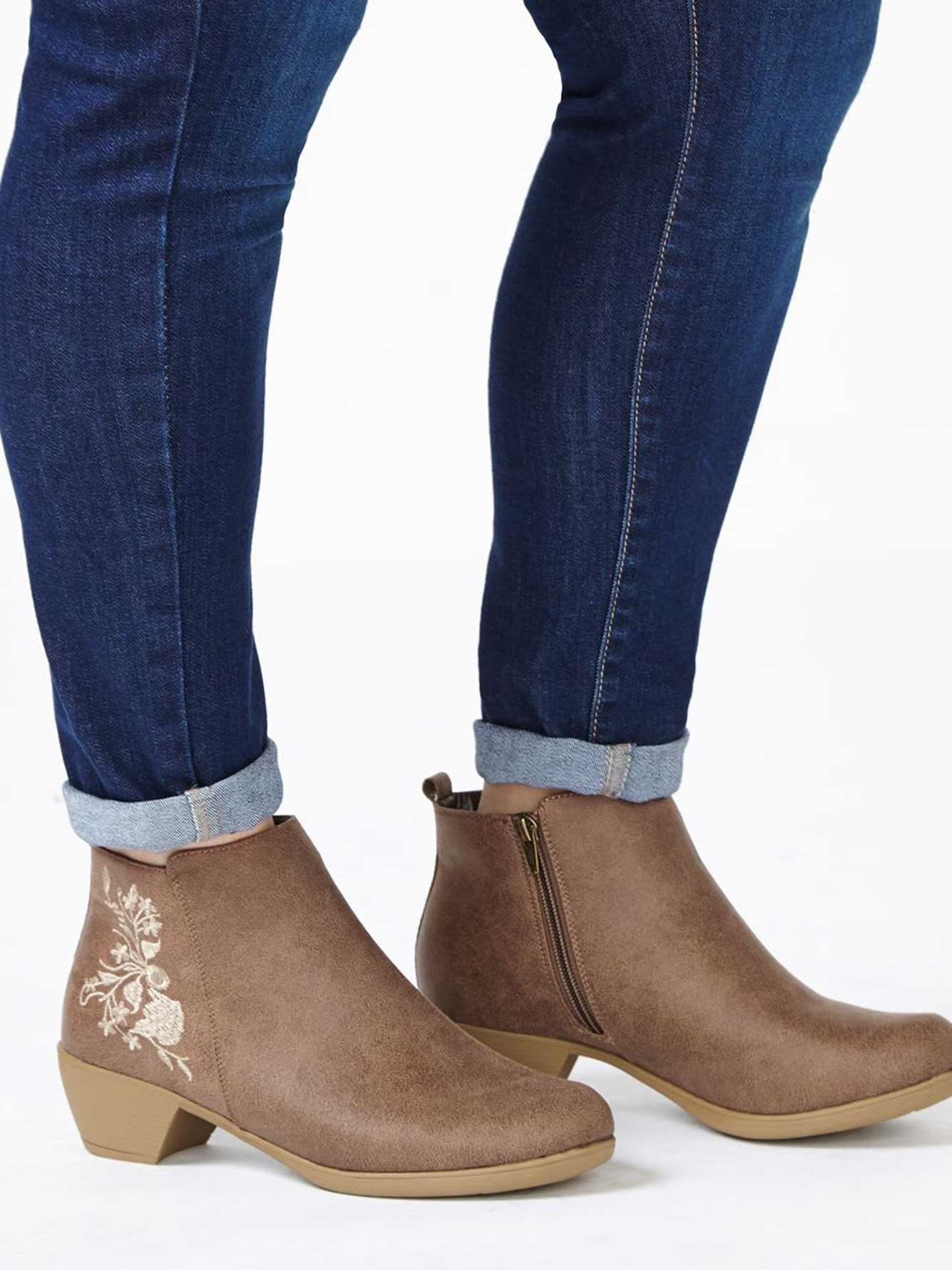 12356d38a26 Wide-Width Embroidered Booties