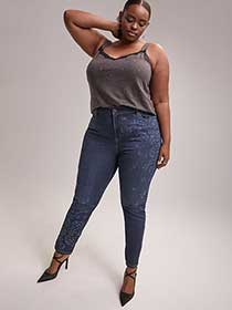 Slightly Curvy Skinny Leg Jean with Print - d/C JEANS