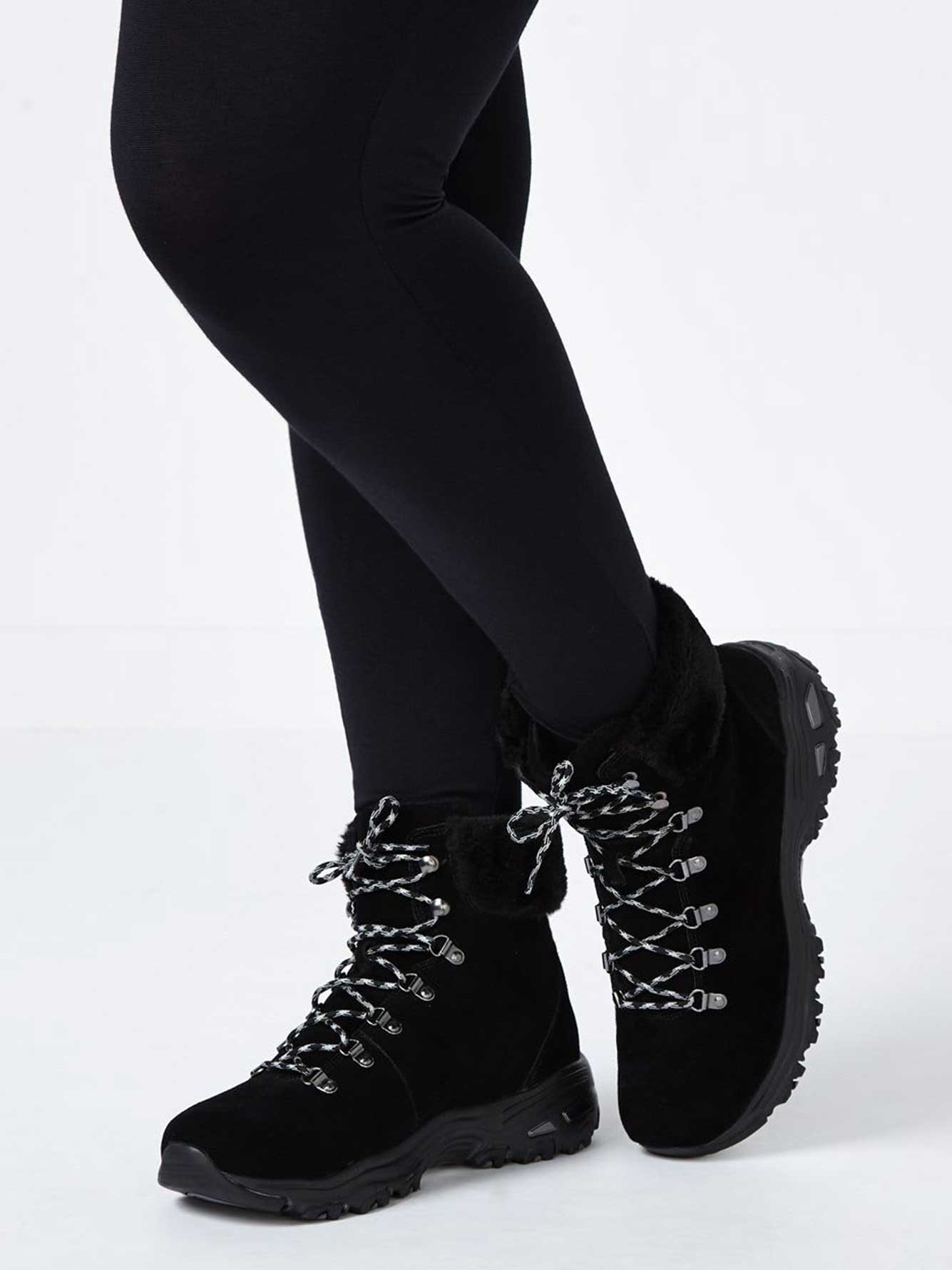 Skechers Wide-Width Lace Up Booties with Faux-Fur