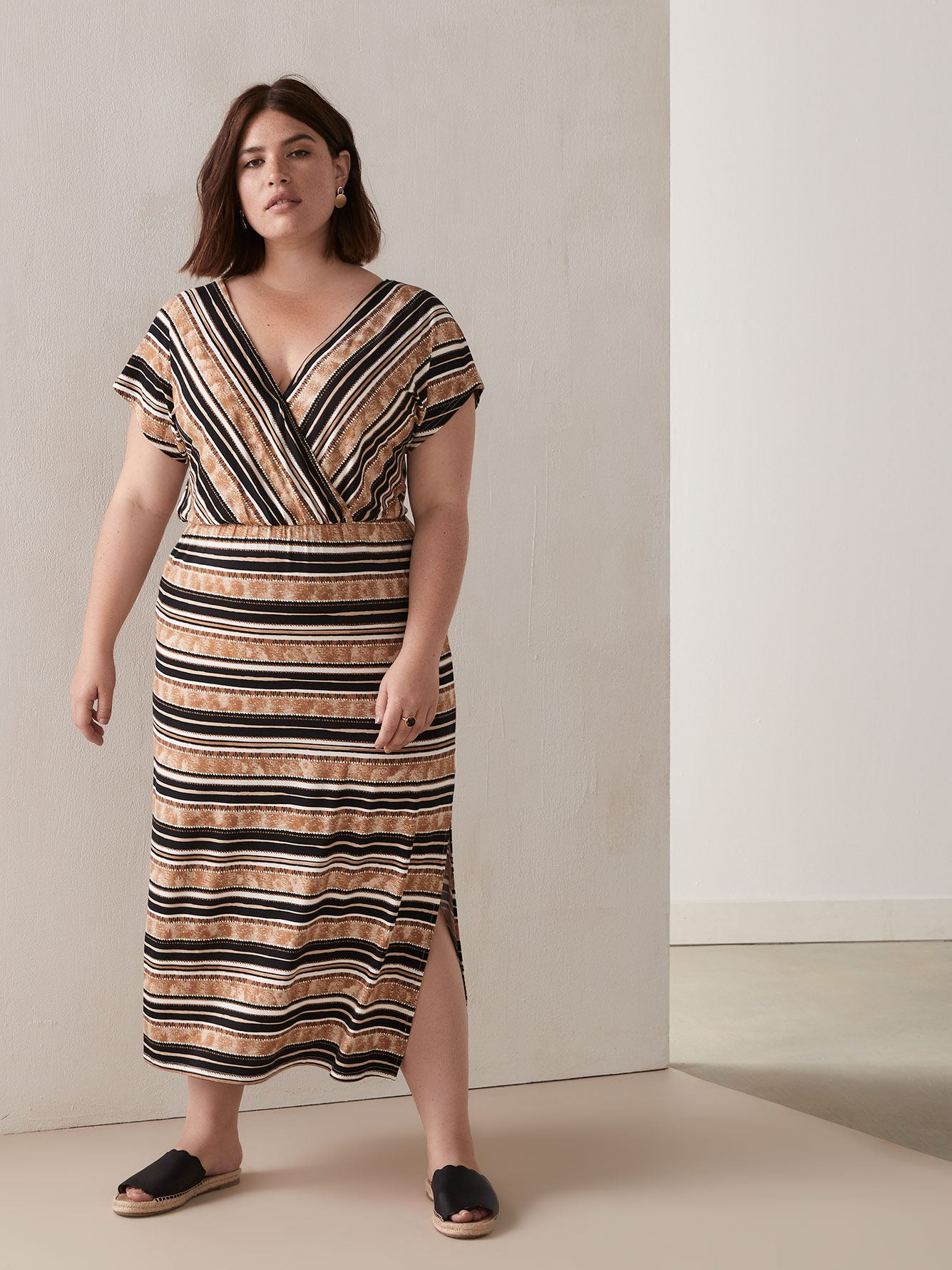 Striped Faux-Wrap Maxi Dress