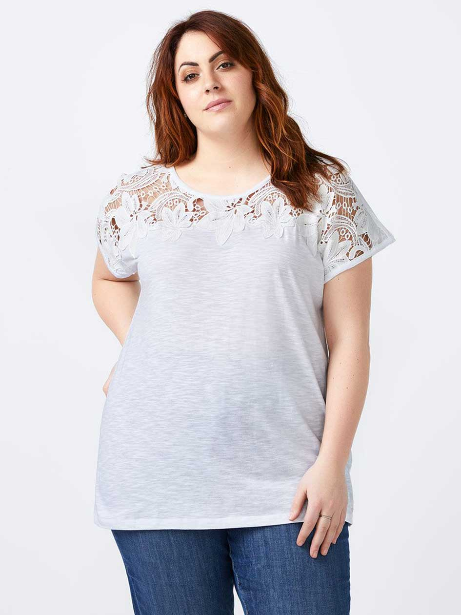 Girlfriend Fit T-Shirt with Crochet - d/C JEANS