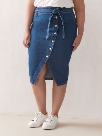 Midi Denim Skirt with Button Front - Addition Elle