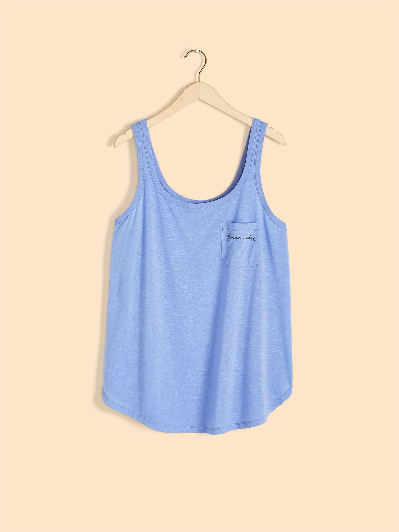 Pajama Tank Top with Pocket Print - Addition Elle
