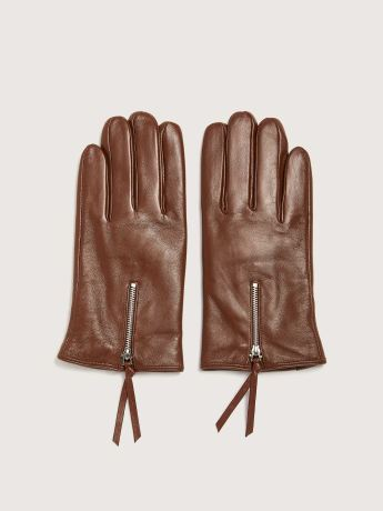 Leather Gloves with Zipper - Addition Elle