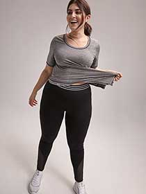 Plus Size Legging with Exposed Waistband - ActiveZone