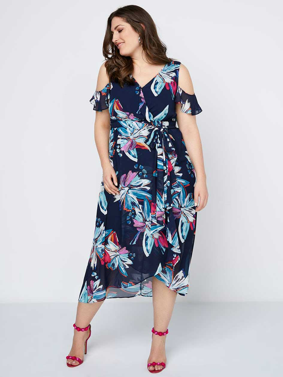 Printed Chiffon Maxi Dress with Ruffles - In Every Story